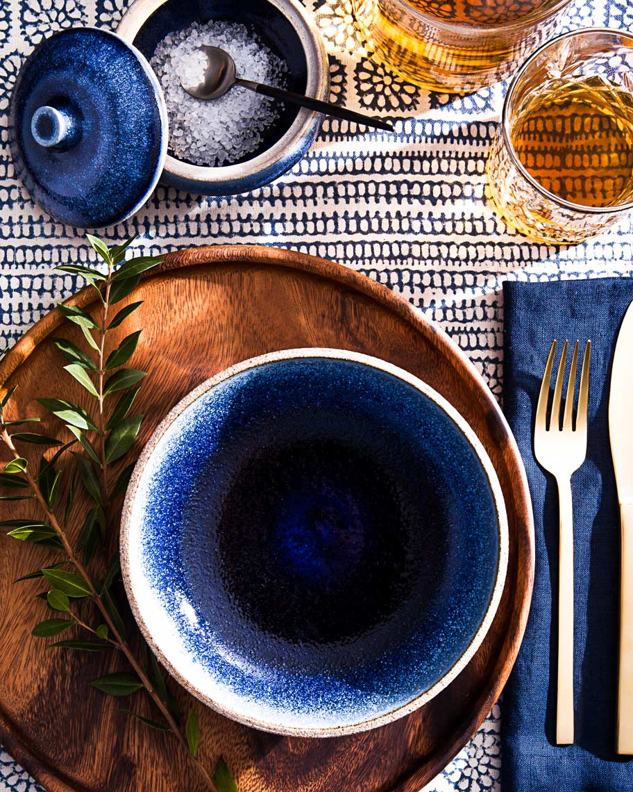 Afton-Road-Sapphire-Pottery-Tablescape-Ceramics-Bourbon-Still-Life-Photography-Photographer-Rick-Holbrook