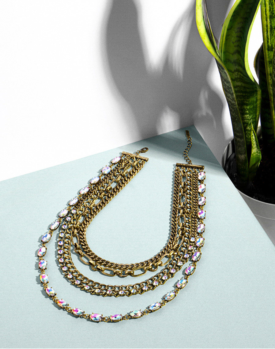 Antiqued-Bronze-Crystal-Necklace-Collar-Snake-Plant