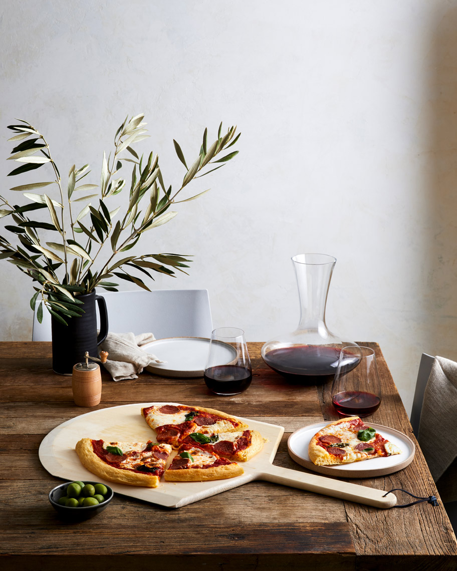 Wine-Decanter-Olive-Branches-Pizza-Tablescape-Food